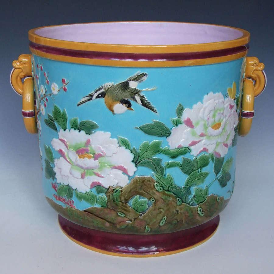 A fabulous Minton majolica 'Golden Pheasant' motif jardiniere