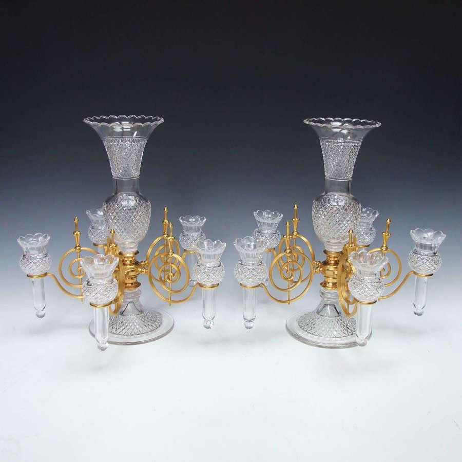 Fabulous pair of Osler cut crystal & ormolu epergnes